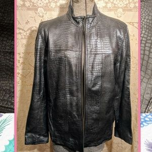 Chico's metallic leather jacket L/2